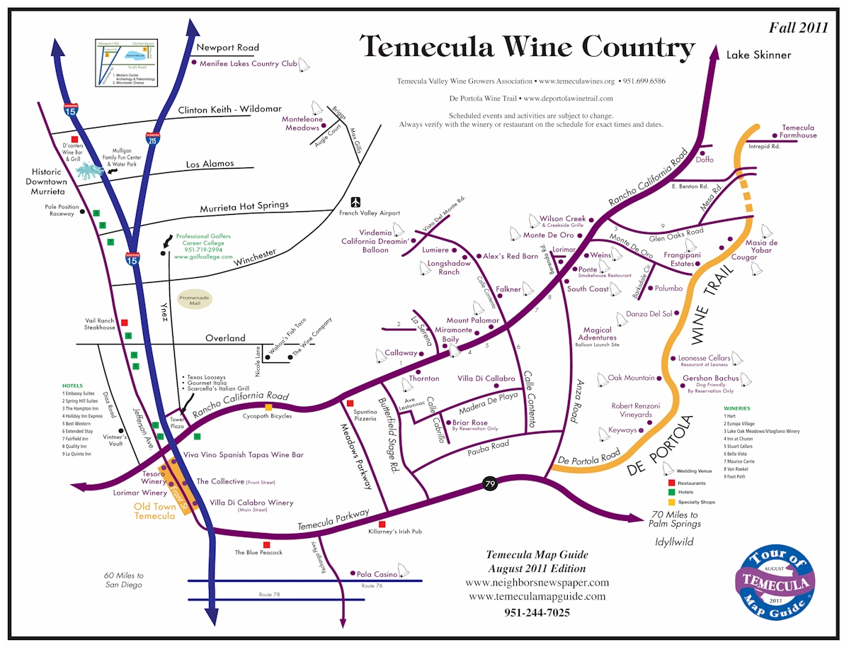 Maps of Temecula Wineries Communities Schools Lake Skinner and